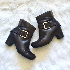 Clarks Brown Leather Buckle Heeled Boots 8.5